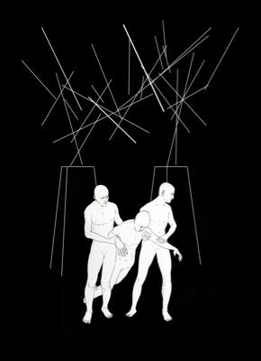Dimitris Baboulis, Predestination support, 2011, ink on paper, 130 x 150 cm