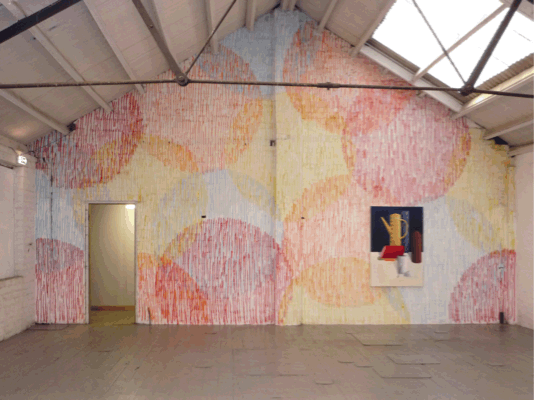Nicolas Party, Decorative Pattern No 1 (and Still life a striped pot) 2010, Spray paint on wall, 15 m x 10 m, Installation view 'Kiss of Death', Glue Factory, Glasgow, 2010