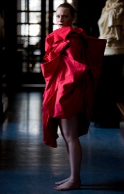 """Ruth Barker, """"And the three mothers ask, Don't you know me?"""", 2011. Performance, duration 15 mins, approx. (featuring bespoke garment by Lesley Hepburn)"""