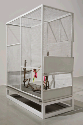 Luca Trevisani, Please do not feed the animals, 2011, Metal cage, plasticine, bronze-casting, plastic elements, 110 x 50 x 100 cm, Unique