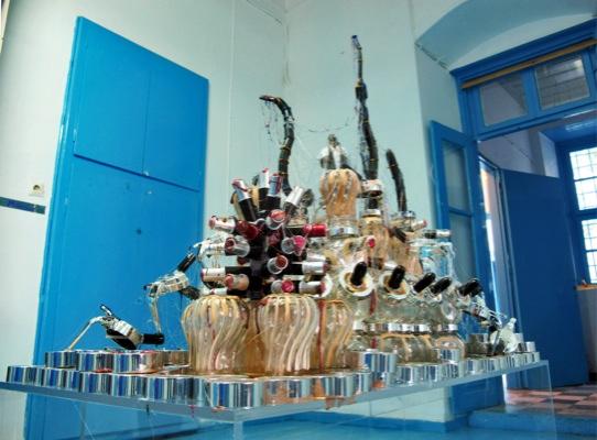 Ioanna Pantazopoulou, C.Q., 2010, honey jars, cosmetic containers, lipstic, glue, mirror, 160x120x60 cm, Courtesy Ileana Tounta Contemporary Art Center, Athens