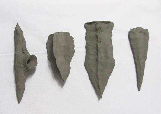 Stelios Karamanolis, Lances, 2010, clay, variable dimensions