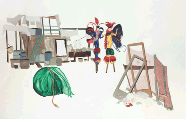 Maria Zervou, Structures of support, 2011, aquarelle and color pencils on paper, 70 x 100 cm