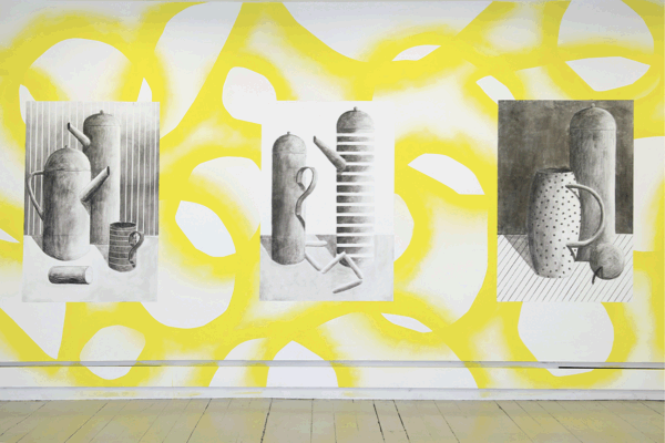 Nicolas Party, Decorative Pattern No 2 (and still lifes) 2010, Spray paint and charcoal on wall, Dimensions variable, Installation view 'Teapots and Sausages', Intermedia, Glasgow, 2010