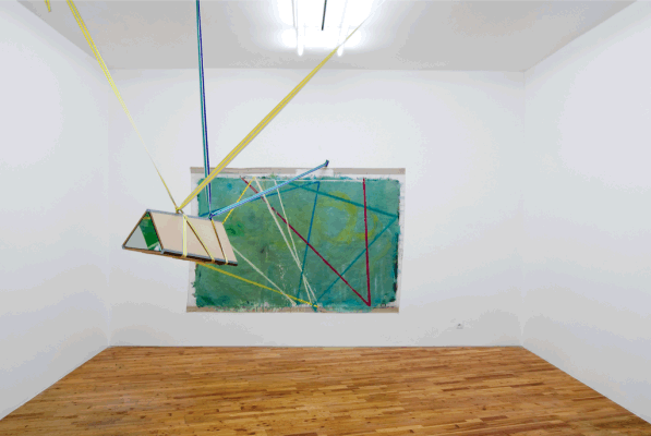 Radu Comsa, study for kaleidoscope (envisioning apparatus), 2011 oil on canvas, wood, mirror, tape, coloured bands, variable dimensions: canvas 255x172cm, optical instrument 100x37x32cm