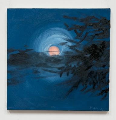 Ann Craven. Peach Moon, 8:50 PM 8/16/11. 2011. Oil on canvas. 35x35cm. Courtesy CONDUITS