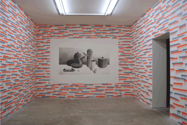 Nicolas Party, Decorative Pattern No 5 (and stlll lifes) 2010, Spray paint and charcoal on wall, Dimensions Variable, Installation view 'New Work Scotland', Collective Gallery, Edinburgh, 2010
