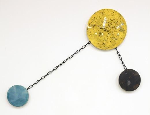 "Niall Macdonald, ""Spring Tides"", 2011. Glazed ceramic, chain, polyurethane rubber, plaster, spray-paint, 110 x 70cm"