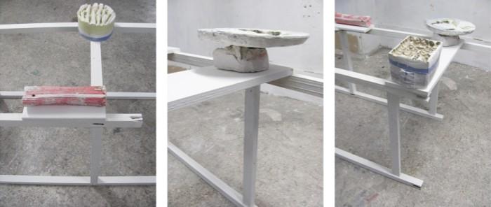 Tula Plumi, Untitled (detail) , 2011, plaster, wood, 280x70x70 cm