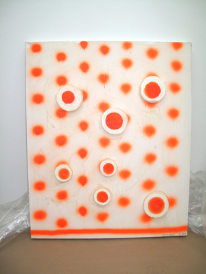 Chris Martin, Orange dot painting, 2008, Acrylic, spray paint, and styrofoam on canvas, 45 x 37 in