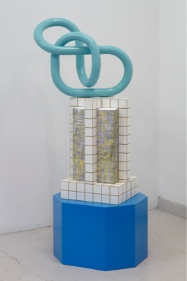"""James McLardy, """"Bought Air"""", 2010. Carved Plastic Laminated MDF, Paper, Paint and Powder Coated Steel. Detail from installation, 50 x 60 x 160cm"""