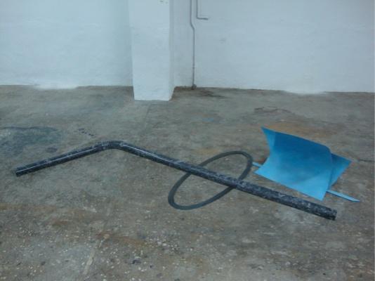Rallou Panagiotou. Blue Degrade. 2011. Marble, metal, paint. 254x57x50.8 cm. Courtesy ΙBID Projects.