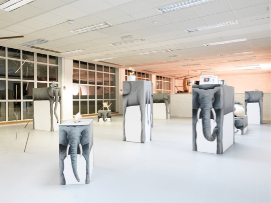 Nicolas Party, Elephant's Plinth 2011, (with work from the Woodmill Studio Members), Acrylic on wooden plinths, Dimensions Variable, Installation view 'Elephants at the Woodmill', Woodmill, London, 2011