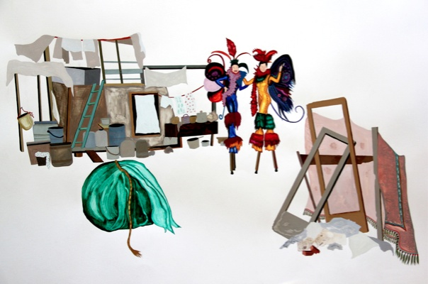 Maria Zervou. Structures of Support. 2011. Aquarelle and color pencils on paper 70x100 cm. Courtesy Ileana Tounta Contemporary Art Center.