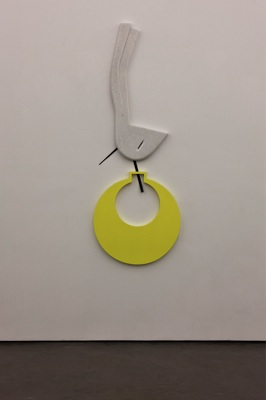 Rallou Panagiotou, Your Voice My Earring, 2010, marble, metal, lacquered wood, 232 x 84 x 5 cm. Photo: Dennis Papaioannou.