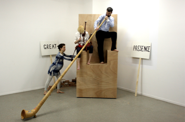 Nicolas Party (and Shelly Nadashi and Kate V Robertson), The Complete World History of Terrorism as it is Known Today + Solution, Set for a performance, Plateaux Festival Mousonturm, Frankfurt-am-Main