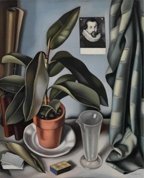 TAMARA DE LEMPICKA (1898 Warsaw, Poland-1980 Cuernavaca, Mexico) Succulent Plant and Flask,1941, oil on canvas, 55.9x45.7 cm © ADAGP Paris-OSDEETE Athens 2010. Photo The George Economou Collection