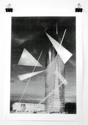 Theo Prodromidis, Untitled (towards all her future constructions, 10.08, Sofia), 2008, acrylic spray on print, 85 x 60 cm