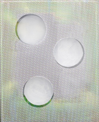 "Johannes Johannes Wohnseifer. In Sight Out III. 2011. Acrylic, lacquer on canvas, plexiglass frame, printed foil. 50x40x5 cm. Courtesy Johann König, Berlin., ""In Sight Out III"", 2011, acrylic, lacquer on canvas, plexiglass frame, printed foil, courtesy Johann König, Berlin"