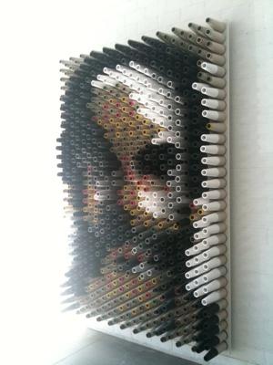 Evangelos Kaimakis. Portrait Machine #2, 2011. Wood, melamine, paint, various cardboard cones. 220x148 cm. Courtesy of the artist.