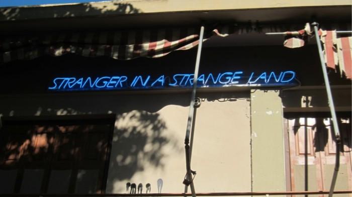 Alexandros Tzannis. Stranger in a strange land. 2011. Neon, metal. 15x270x10 cm. Courtesy The Breeder, Athens.