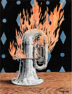 RENÉ MAGRITTE (1898 Lessines, Belgium – 1967 Brussels, Belgium) The Discovery of Fire, 1959, gouache on paper 24x18.8 cm © ADAGP Paris-OSDEETE Athens 2010. Photo The George Economou Collection