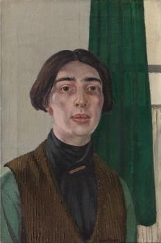 JEAN FAUTRIER (1889 Paris-1964 Châtenay-Malabry, France) Self-portrait, 1916-1917,   oil on canvas, 64x41 cm © ADAGP Paris-OSDEETE Athens 2010. Photo The George Economou Collection